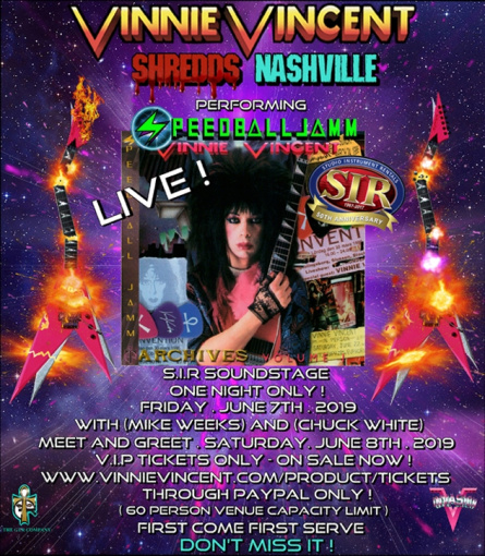 Former KISS Guitarist VINNIE VINCENT Announces 'Speedballjamm' Nashville Performance