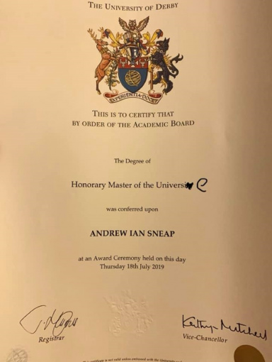 JUDAS PRIEST's Touring Guitarist ANDY SNEAP Receives Honorary Degree From University Of Derby: Video, Photos