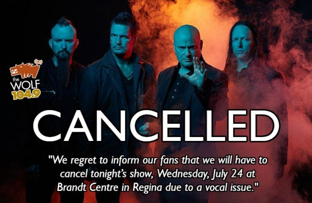 DISTURBED Cancels Regina Concert Due To DAVID DRAIMAN's 'Vocal Issue'