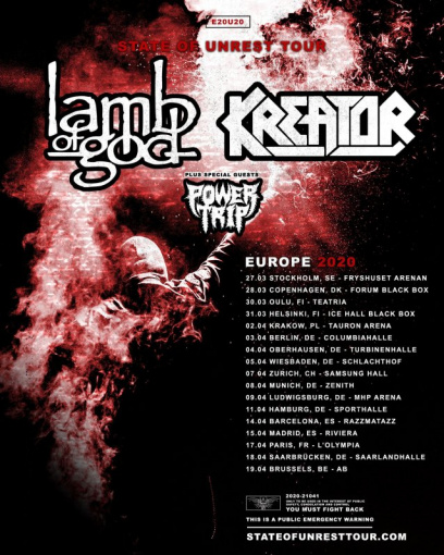 LAMB OF GOD And KREATOR Announce Spring 2020 European Co-Headlining Tour