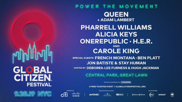 Watch QUEEN + ADAM LAMBERT Peform At GLOBAL CITIZEN FESTIVAL