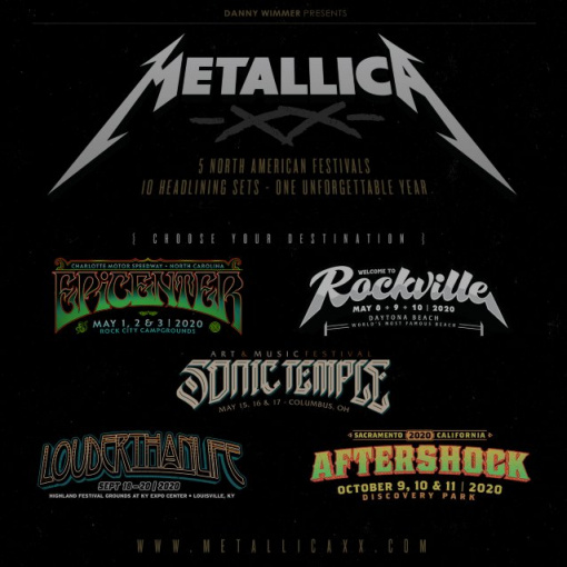 METALLICA To Headline Five U.S. Festivals In 2020, Performing Two Sets At Each Stop