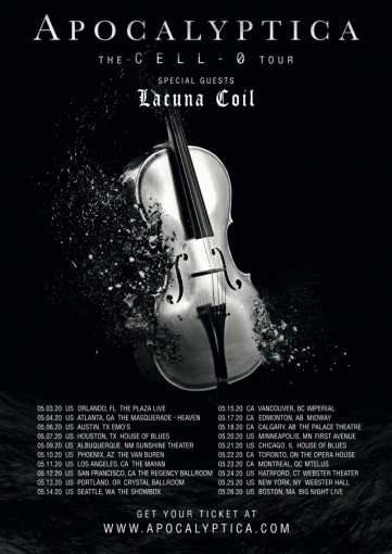 APOCALYPTICA Announces May 2020 North American Tour With LACUNA COIL