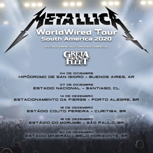 METALLICA Announces Rescheduled South American Tour Dates