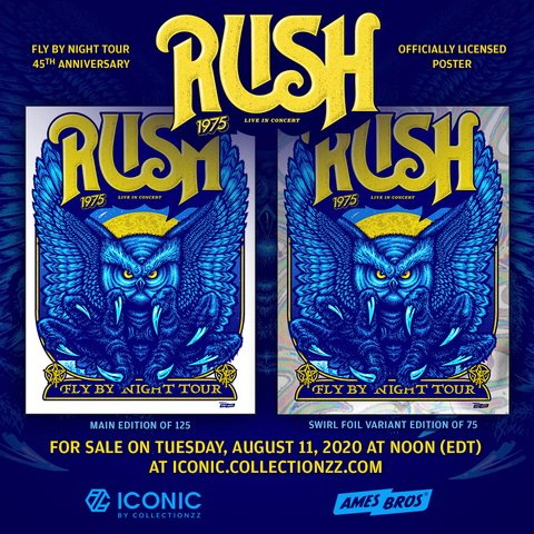 Official Limited-Edition RUSH Screenprints To Celebrate 45th Anniversary Of 'Fly By Night' Album And Tour