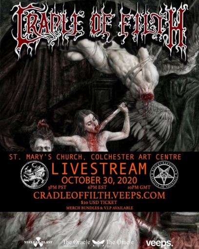 CRADLE OF FILTH Announces Livestream Concert From England's St. Mary's Church